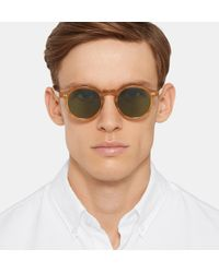 Moscot Brown Miltzen Round-frame Horn-effect Acetate Sunglasses for men