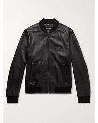 Dolce & Gabbana Black Leather Bomber Jacket for men