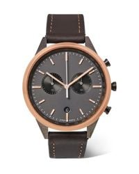 Uniform Wares Black C41 Chronograph Stainless Steel And Leather Watch for men