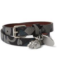 Alexander McQueen - Blue Camouflage-print Leather Wrap Bracelet for Men - Lyst