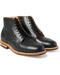 Viberg - Black Service Leather Brogue Boots for Men - Lyst