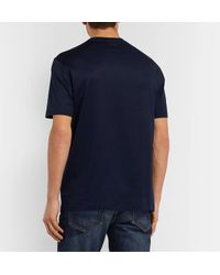 Brioni Blue Logo-embroidered Cotton-jersey T-shirt for men