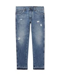 Dolce & Gabbana - Blue Slim-fit Distressed Denim Jeans for Men - Lyst