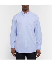 Acne Blue Isherwood Slim-fit Button-down Collar Cotton Oxford Shirt for men
