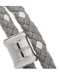 Miansai - Metallic Double Casing Woven Leather Stainless Steel Bracelet for Men - Lyst