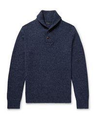 J.Crew - Blue Shawl-collar Mélange Wool Sweater for Men - Lyst