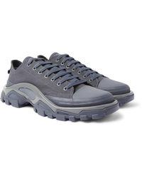 Raf Simons Gray + Adidas Originals Detroit Canvas, Rubber And Mesh Sneakers for men