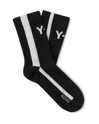 Y-3 Black Logo-jacquard Striped Cotton-blend Socks for men