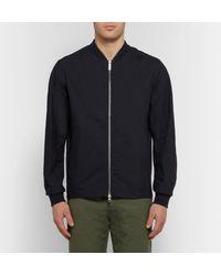 NN07 Blue Cotton And Nylon-blend Matte-satin Bomber Jacket for men