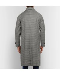 Officine Generale Gray + Loro Piana Serge Gingham Storm System Wool Overcoat for men