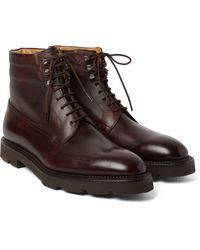 John Lobb - Blue Alder Panelled Leather Boots for Men - Lyst