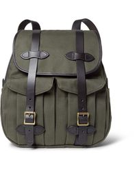Filson - Green Leather-trimmed Twill Backpack for Men - Lyst