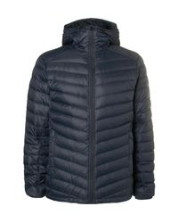 Peak Performance Blue Frost Quilted Shell Hooded Down Jacket for men