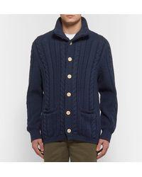 J.Crew - Blue Cable-knit Cotton Cardigan for Men - Lyst