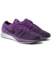 Nike Purple Flyknit Trainer Sneakers for men