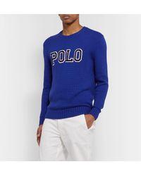 Polo Ralph Lauren Blue Logo-appliquéd Cotton Sweater for men