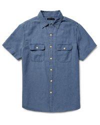 Alex Mill Blue Roadhouse Slim-fit Cotton-dobby Shirt for men