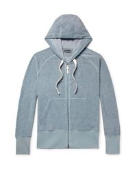 Tom Ford Blue Cotton-terry Zip Up Hoodie for men
