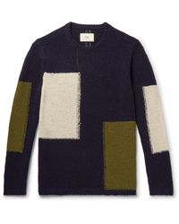 Folk | Blue Colour-block Wool-blend Sweater for Men | Lyst