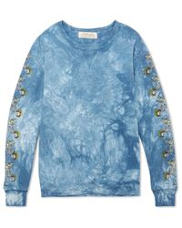 Remi Relief Blue Printed Tie-dyed Loopback Cotton-jersey Sweatshirt for men
