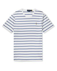 Polo Ralph Lauren White Logo-embroidered Striped Interlock Cotton T-shirt for men