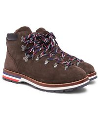 Moncler Brown Peak Shearling-lined Suede Boots for men