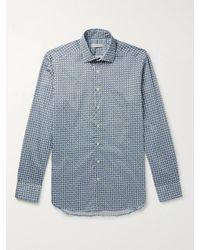 Etro Blue Cutaway-collar Printed Cotton Shirt for men