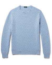 Incotex Blue Textured-knit Virgin Wool Sweater for men