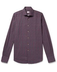 Incotex Blue Printed Cotton And Linen-blend Shirt for men