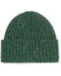 Drake's - Green Ribbed Donegal Merino Wool Beanie for Men - Lyst