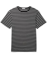 Sandro Black Slim-fit Striped Cotton-jersey T-shirt for men