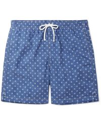 Anderson & Sheppard Blue Slim-fit Mid-length Floral-print Swim Shorts for men