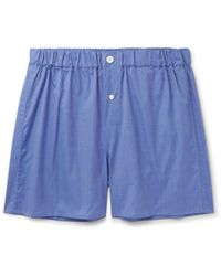 Emma Willis Blue End-on-end Cotton Boxer Shorts for men