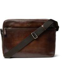 Berluti Brown Plein Jour Scritto Polished-leather Messenger Bag for men