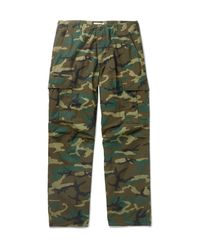 Orslow Green Camouflage-print Cotton-ripstop Cargo Trousers for men