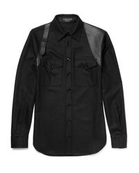 Alexander McQueen Black Slim-fit Leather-panelled Wool Shirt for men
