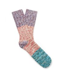 Thunders Love Blue Charlie Colour-block Mélange Recycled Cotton-blend Socks for men