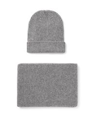 William Lockie Gray Ribbed Cashmere Hat And Scarf Set for men