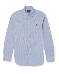 Polo Ralph Lauren | Blue Slim-fit Gingham-checked Cotton Shirt for Men | Lyst
