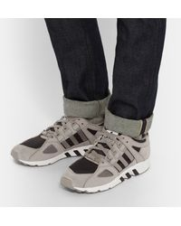 Adidas Originals Gray Equipment Running Guidance 93 Nubuck And Textured-leather Sneakers for men