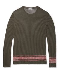 Valentino Green Slim-fit Fine-knit Ribbed-jersey Sweater for men