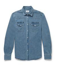 Acne | Blue Ewing Washed-denim Shirt for Men | Lyst