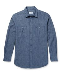 Dunhill Blue Slim-fit Cotton-chambray Shirt for men