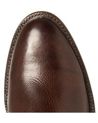 Kingsman Brown + Luchesse Statesman Embroidered Burnished-leather Boots for men
