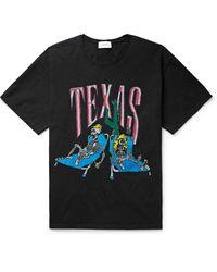 Rhude Black Printed Cotton-jersey T-shirt for men