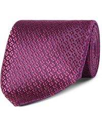 Charvet Purple Floral Silk-jacquard Tie for men