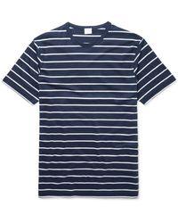Sunspel Blue Striped Cotton T-shirt for men