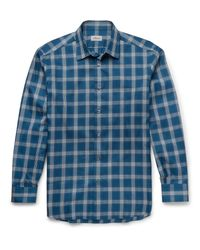 Brioni | Blue Checked Cotton Shirt for Men | Lyst