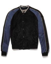 Lanvin Blue Suede And Voile Bomber Jacket for men