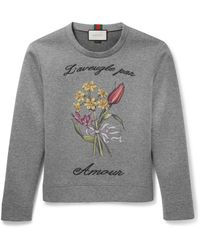 Gucci Gray Embroidered Cotton Sweatshirt for men